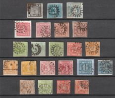 Old Germany - BAVARIA 1849-1862 - postage stamps overprinted value in circle - all imperforated cross stamps with One kreuzer black - Michel 1/13