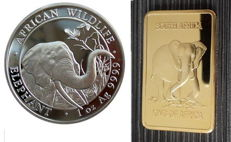 Somalia - 100 shilling 2018 'African wildlife series' - elephant - 1 oz 999.9 silver + 24 kt medal block