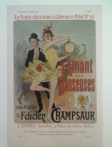 "Art Nouveau - Jules Chéret - advertising ""L'amant des danseuses, 1899 Original chromo-lithograph print from Pluma y Lapiz."
