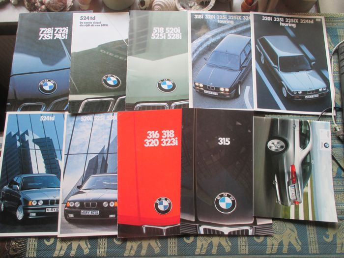 Car brochures (BMW, ten mostly extensive brochures, 1977-1989)