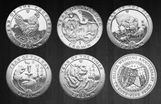 Isle of Man - Crowns 1972/1999 Royal Wedding and 'Year of the Rooster, Rat , Dog, Pig & Tiger' (6 different)