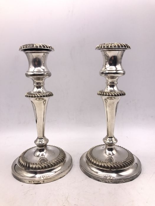 Set of heavy antique silver-plated English candlesticks