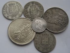 Kingdom of Italy and Republic - Lot of six coins - silver