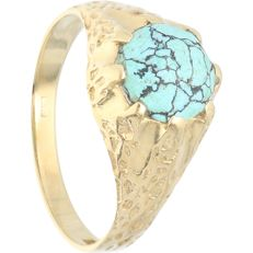 14 kt - Yellow gold ring set with turquoise - Ring size: 17.75 mm