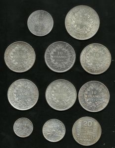 France – Lot of 11 coins (1 Franc to 100 Francs) 1934/1983 – silver