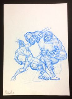 Marco Nizzoli - Wolverine vs Hulk - original illustration - signed
