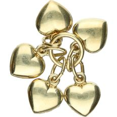 14 kt Yellow gold pendant with various hearts. - length x width: 1.5 x 1.5 cm