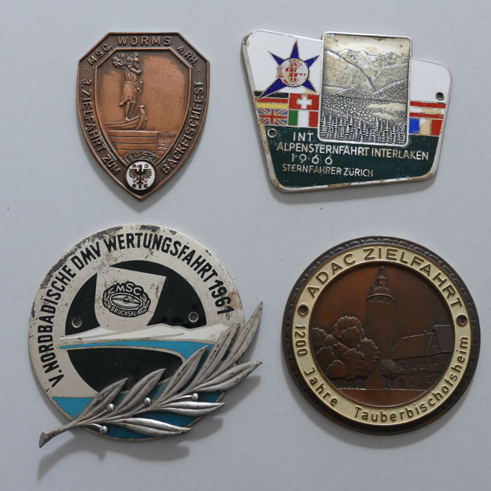 4 enamelled classic car auto badges 1952/66