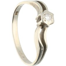 14 kt - White gold ring set with 1 brilliant cut diamond of approx. 0.03 ct in total - Ring size: 16 mm