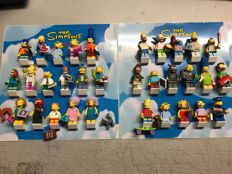 2 full set Simpson's lego mini figures all parts and framed