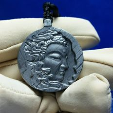 Meteorite Buddha head carving pendant seymchan amulet jewelry iron mineral necklace 18.36gm