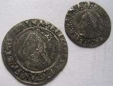 United Kingdom - Penny and Half Groat Elizabeth I 1558-1603 (two pieces) - silver