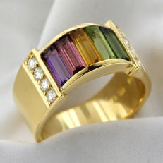 18k Gold Rainbow Ring, as new.