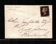 Great Britain 1840 - Penny Black on an envelope - Unificato Catalogue no. 1