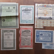 Lot of 9 Bank shares and Gold Loans from a.o. Russia, Mexico, China and Peru  (Peruvian Gold).   All issued and uncancelled, 1889-1952