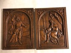 Set of oak relief panels - France - 1st half 20th century