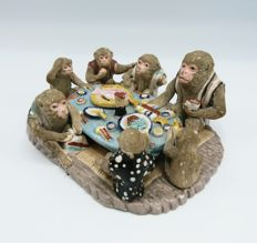 Banko Ware Monkeys Around a Dinner Table  - Japan - early 20th century