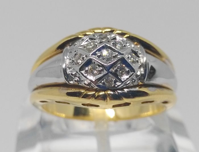 Ring in 18 kt bicolour gold - 9 diamonds - interior size:18 mm