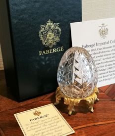 Limited cut crystal egg with a floral design by Fabergé