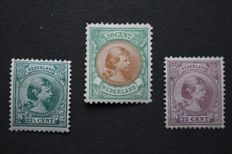 The Netherlands 1891/1896 - Princess Wilhelmina 'Hair down' - NVPH 41, 42 and 45