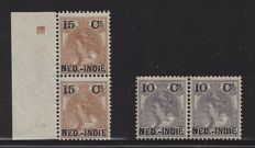 Dutch East Indies 1900 - Aid emissions overprint variants - NVPH 31 and 31f in pair and 33 and 33f in pair
