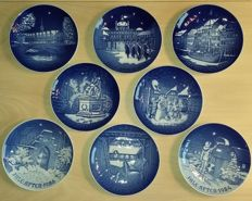 Eight (8) Bing and Grøndahl Christmas plates in mint condition