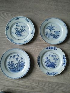 4 white & blue porcelain dishes with flower decoration - China - 18th century