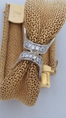 750/1000 gold - bracelet from the 1940s/50s - huit huit cut diamonds - 0.18 ct - Total weight:  40.20 g - Length:  19.0 x 1.5 (1.8) cm