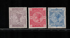 Great Britain 1883-84 - High postage values of Queen Victoria - Unificato catalogue 86-88