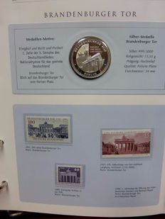 Germany - Commemorative coins, 14 pieces, silver (with certificate), accompanied by stamps (MNH) depicting the item.