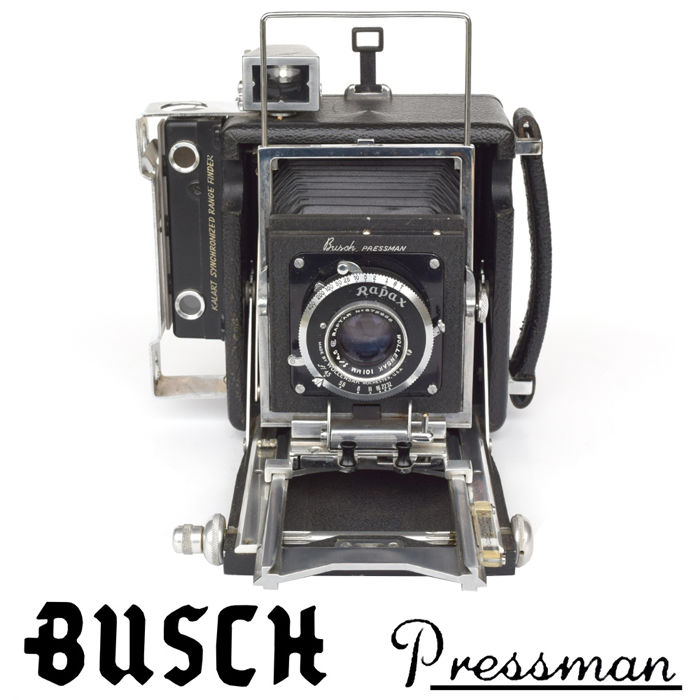 Fabulous BUSCH PRESSMAN Type C 2 X 3 Plate Camera Rapax Shutter And
