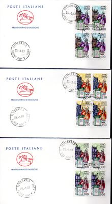 Italian Republic 1963/2005 - collection of 250 first day covers and entire postal stationery, including 26 blocks of four and 44 pieces of postal stationery