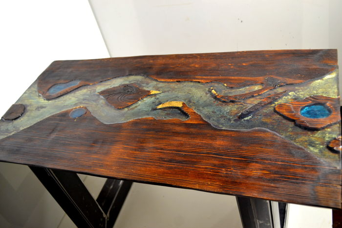 Industrial Coffee Table Handmade Of Old Wood, Resin And Gold Leaf Flakes  U201cM. Pawlik Anty Formau201d
