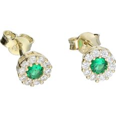 14 kt yellow gold ear studs set with zirconia and emerald.
