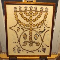 Jewish embroidery of menorah - late 19th century - early 20th century