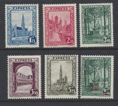 Belgium 1929 - express stamps - 292C/G and 292H