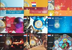 Netherlands - 9 x BU euro Christmas pack 2003 to 2011 Theo Peters - 72 coins