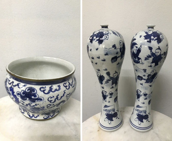 1 Porcelain B/W Spittoon and 2 Porcelain B/W Vases - China/Thailand - late 20th century