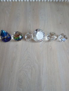 Swarovski - cone Rio Bermuda blue - paperweight Vitrail medium - faceted stone (2) - bullet, flat - Octron clear