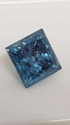 2.08 ct - Princess cut - Blue - SI3