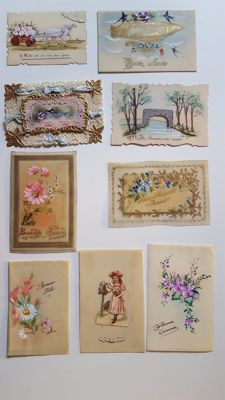 Lot with 191 postcards, Happy New Year 1869 to 1980 French and English.