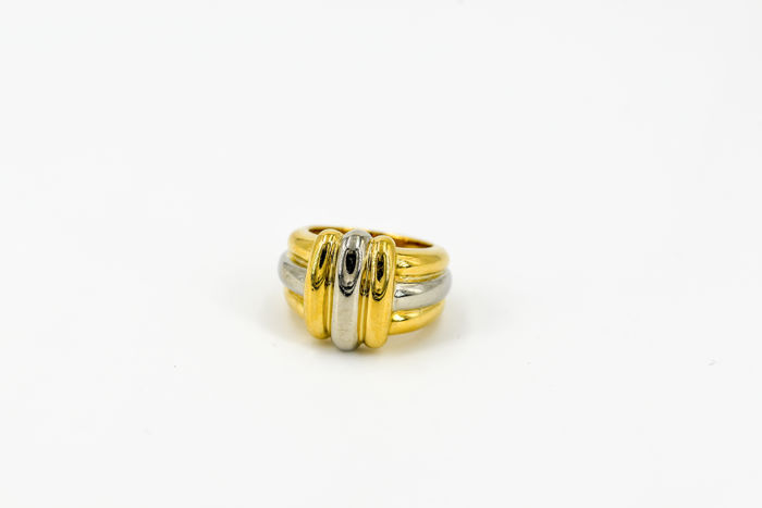 CHRISTOFLE ring in 18 kt white and yellow gold, ring size: 56