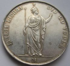 Provisional Government of Lombardy - 5 Lire, 1848 Milan - silver