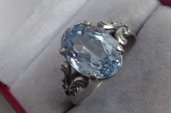 Antique Silver Ring In Art Deco Style With Light Blue Stone Catawiki