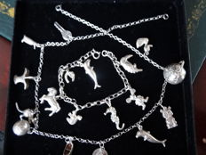 Silver charm necklace and bracelet 1930/50
