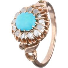 14 kt - Rose gold rosette ring set with a cabochon cut turquoise and 13 rose cut diamonds of approx. 0.13 ct in total - Ring size: 17.25 mm