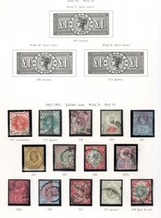 Great Britain 1884/1913 - a small selection on two album pages.