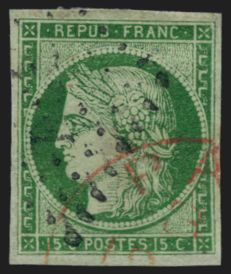 France 1849 – cancelled Cérès 15c green with red English cachet – Yvert no. 2
