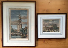 2 Original hand-coloured copper engravings of the Amsterdam Portuguese Jewish synagogue and Jan Roden Port Tower by Casparus Commelin