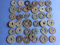 China - Over 40 AE coins from many dynasties, including Western Han - Song, Tang & Wang Mang and others (40+x)